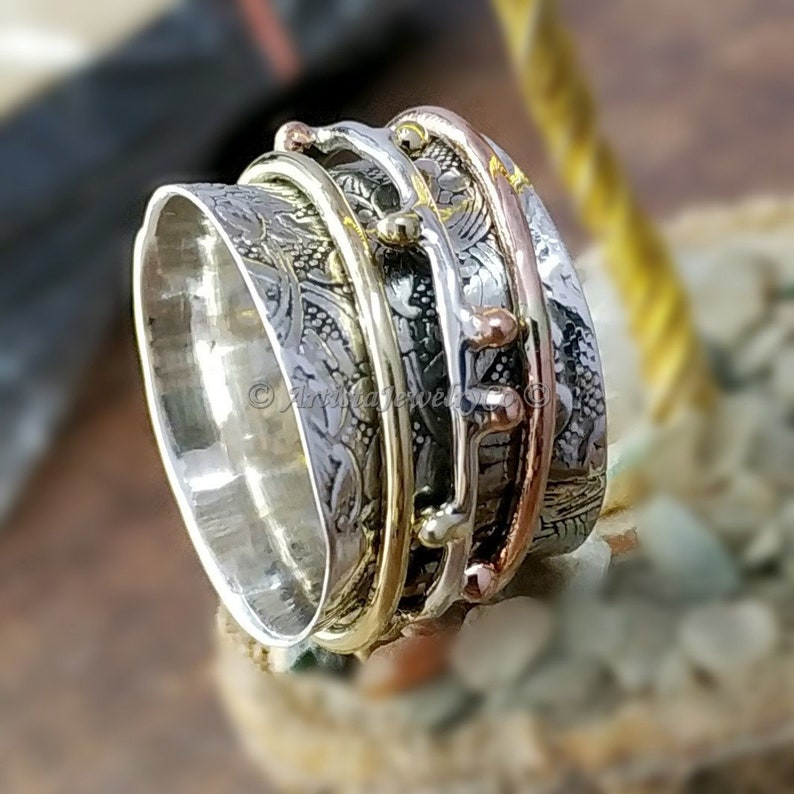 925 Sterling Silver Spinning Band Rings for Women Anxiety Ring for Meditaion Gift Ring for Mothers Day