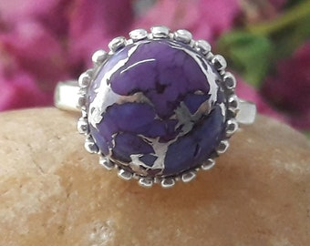 Purple Copper Turquoise Ring, 925 Sterling Silver Ring, Handmade Ring, US Size 8, Purple Turquoise, Gift For Her