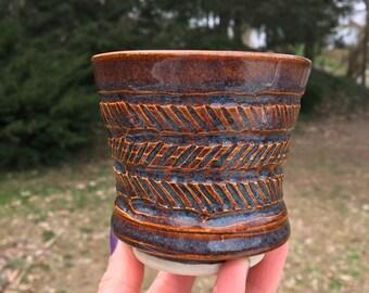 Carved Ceramic Tumbler