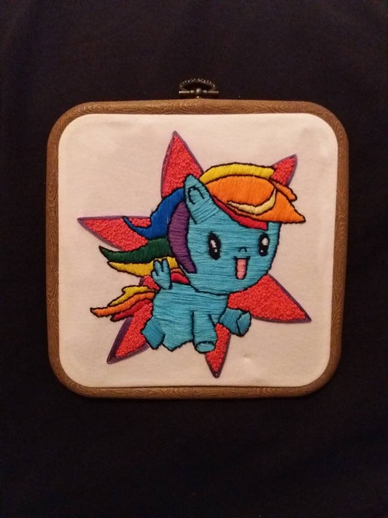 My little pony embroidery hoop  rainbow dash embroidery, wall decor cutie  mark crew  Kids embroidery hoop  Girls bedroom decor
