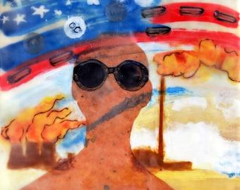 "Original Political Encaustic Oil Painting Entitled ""Willful Blindness"" #neveragain on Cradled Wood"