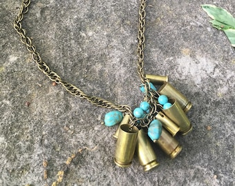 Turquoise and Brass Mixed Bullet Casing Cluster Necklace