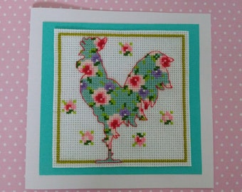 Cross stitched Greeting card Flower Rooster Birthday gift