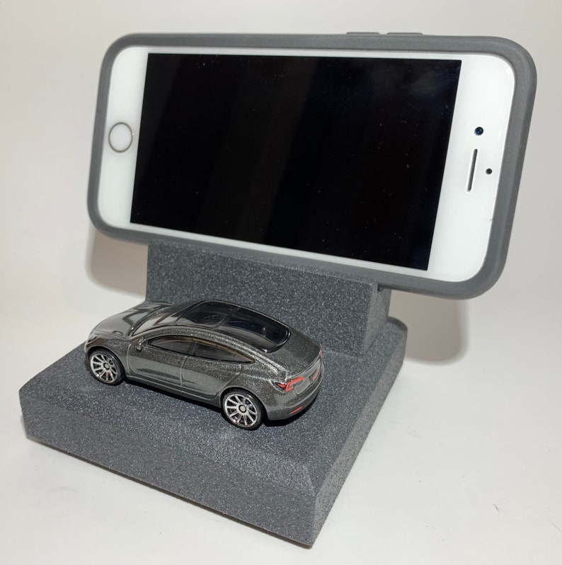unique automotive art for your desk office or man cave A great gift for the electric car enthusiast! Tesla Smart Phone Stand