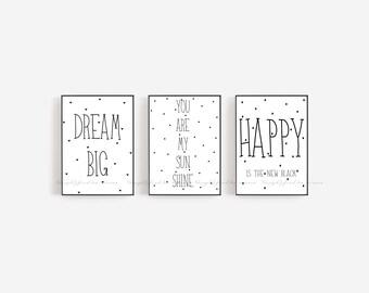 Dream Big Print. Black and White Print. Kids Bedroom Print. Nursery Print. Printable Art. Decor