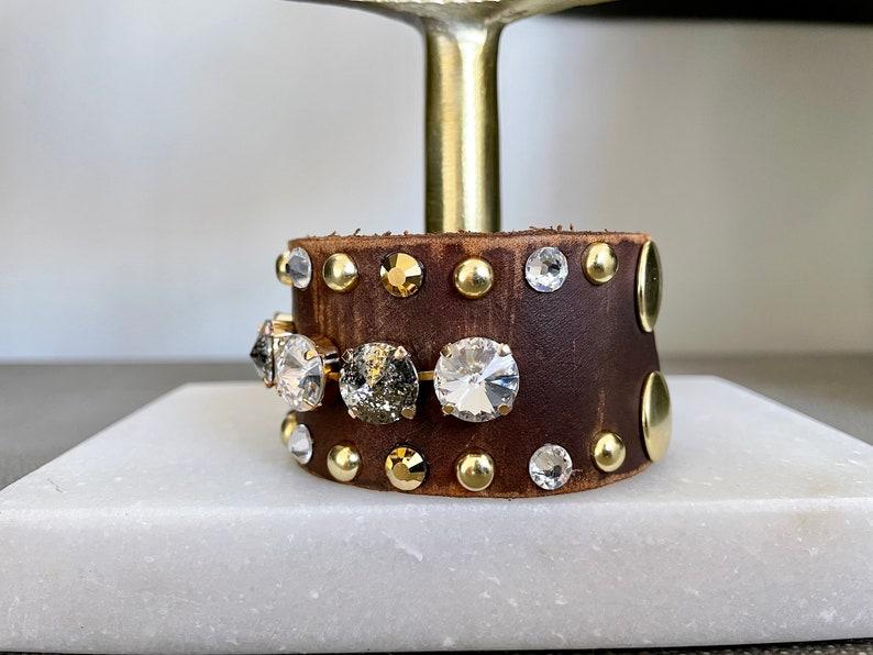 Multi crystal mega bling genuine leather cuff