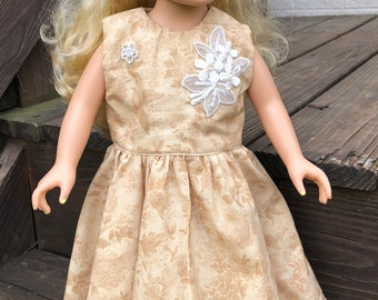 Gold Tones Floor Length Dress (made to fit American Girl dolls)