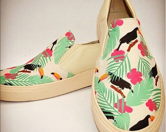 Mocassin Shoes Colombian Handmade. Tropical Design