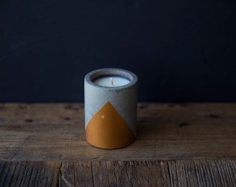 Porte-bougie béton Design avec vanille & Patchouli parfumée - 7 * 9 cm/515 grammes - cadeau pour elle - Decor mariage - maison déco-Hygge