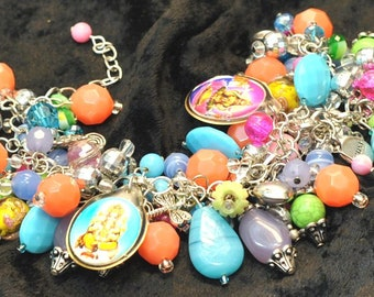 Mulit-Color India-Inspired Charm and Bead Bracelet