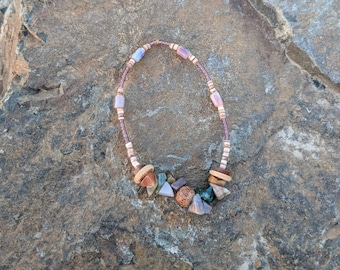 "8"" Mixed Jasper/Wood/Shell & Seed Bead Bracelet or Anklet"