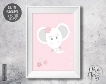 Print in pink for baby room, poster with elephant nursery, print to download jpg, poster with flowers and elephant