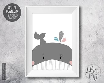 Whale Baby Poster, Nursery Print download, Printable Wall Art Kids, Whale Illustration Poster, Baby Room Decoration Art Print, Baby Whale JPG
