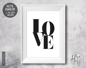 Love Poster, Download Print, Love Print, Typo Love, Digital Print, Download Poster, Mother's Day Gift, Valentine's Day Poster, Typo download