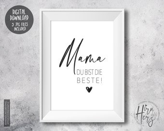 Poster for Mother's Day, print with heart to download, family poster, mom you're the best