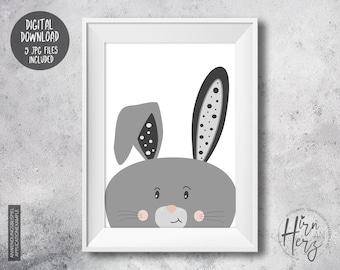 Baby room print bunny, nursery prints, bunny printable wall art, baby print illustration, bunny kids poster, animal print download