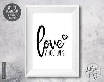 LOVE without limits, Love Poster, Poster download, love JPG, Motivational Sayings, Valentine's Day Picture, Mindfulness Poster, Living Room Poster