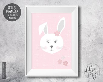 Pink baby poster with bunny, download animal print, baby room print jpg, animal wall art, download nursery print