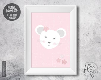 Mouse poster for baby room, mouse print nursery, download print jpg, pink print baby room, download to print jpg