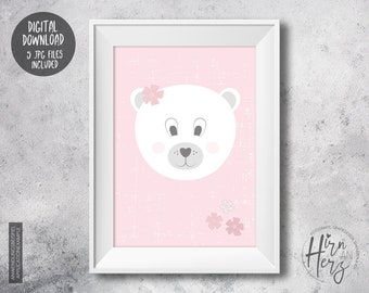 Bear poster baby room, animal print for nursery, download print jpg, animal poster bear, pink print, print for download