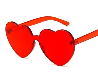 Heart Shape Sunglasses for Women Neon Colors Love Heart Party Sun Glasses,6 Pack Red