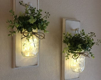 Mason Jar Wall Sconce, Wall Decor, Hanging Jars with Fairy Lights, Home Decor, Sconces, Rustic Chic Wall Decor, Cottage Decor, Farmhouse