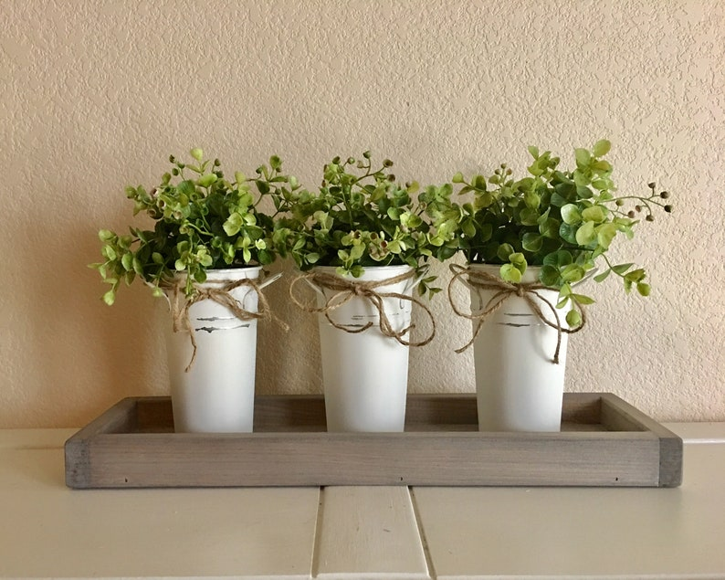 Distressed Decor Set of three Painted Tins with Flowers or Greenery Table Centerpiece Farmhouse Metal Vases Rustic Housewarming Gift,
