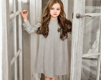 Grey dress for girl, Tricot dress for girl, Girl dresses,  Princess outfit, dresses, day dress, Gift for girl, Dress with wings