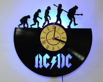 AC DC Music Band Vinyl Wall Clock with LED Backlight - Birthday Gift Id 44d466736af4