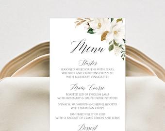 Wedding Menu Card Editable Template INSTANT DOWNLOAD Magnolia Blossom Bridal Shower Rehearsal Engagement Menu Birthday Table D\u00e9cor TEMPLETT