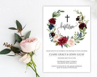 Twin Baptism Invitation, Boy And Girl Baptism Invitation, Editable Twin Baptism, Editable Baptism Invitation, Baptism Invitation, P17