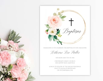 Editable Baptism Invitation Girl Template Dedication Pink Gold P18