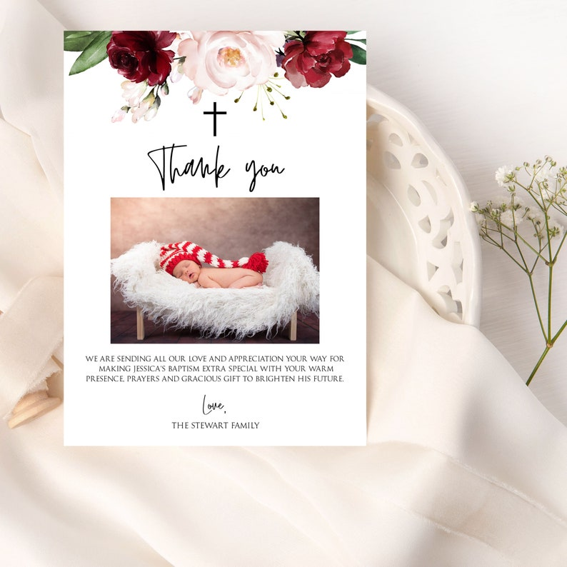 Burgundy Baptism Thank You Card Template Religious Thank ...