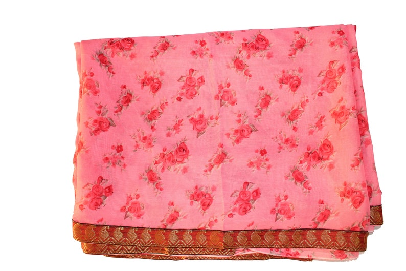 Free Shipping Indian Clothing Vintage Traditional Fabric Georgette sari