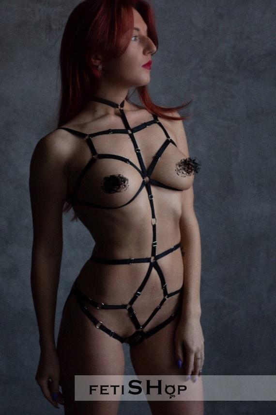 Excited Harness Lingerie Body Bondage Set Erotic Photos 1
