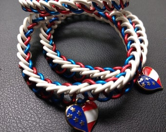 Red, White, and Blue stretchy chainmail bracelet