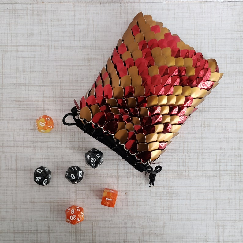 Scale Dice Bag 4\u00d75.5 Red and Bronze