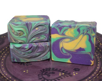 Mardi Gras Themed Handmade Cold Process Soap