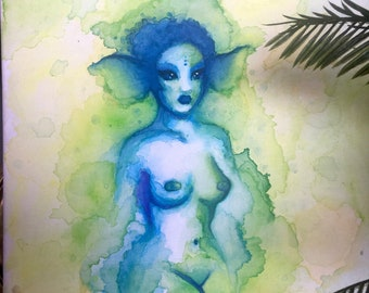 """Watercolor painting """"Lagoon"""" (AKA """"If Vaporeon was a hot chick"""") by Lotte LaVey, nude siren painting, water color on canvas"""