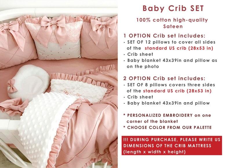 crib sheet Pink pillow crib bumper pads personalized baby blanket- Crib set for baby girl Personalized Crib bedding set for baby girl