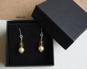 925 hooks, Swarovski pearls,glass beads, handmade simple earrings jewellery ready gift box for her, present
