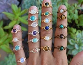 Gemstone Bead Ring. Wire Wrapped Bead Ring. Healing Crystal Ring. Choose Your Gemstone. All Sizes. Silver Ring.Antique Bronze. Boho Jewelry.