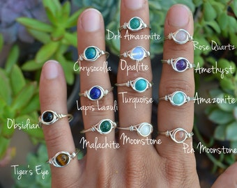 Sterling Silver Filled Gemstone Bead Ring. FREE Shipping. Wire Wrapped Bead Ring. Healing Crystal Ring. All Sizes. Silver Ring. Boho Jewelry