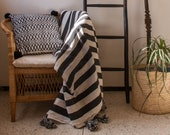 Striped handwoven Moroccan cotton blanket