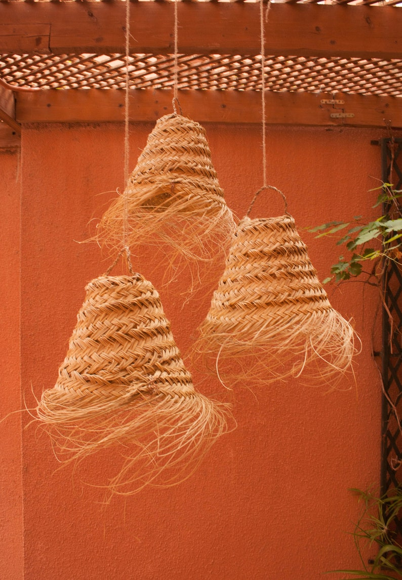 Woven pendant lamp small size wicker cone ceiling light image 0
