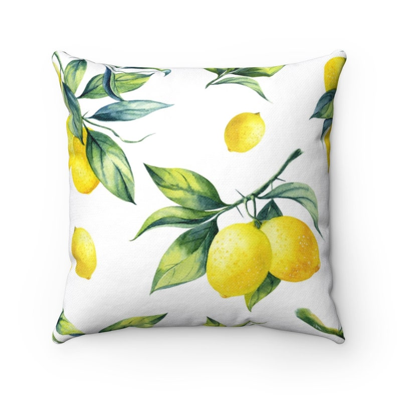 Fresh Lemons and Leaves Spun Polyester Square Pillow image 0