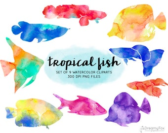 Watercolor Tropical Fish Clipart Commercial Use Instant Download Digital Imagees Png Ocean