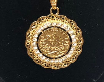 Round Gold Turkish necklace with diamond all around. For women. Gift.