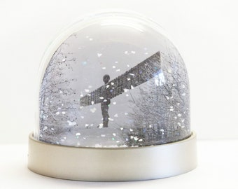 Snow Globe of the Angel of the North in the snow and Tyne Bridge in the Snow.