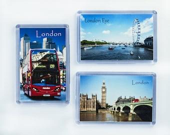 Set of 3 London Magnets, Big Ben, Westminster Bridge, Red bus, London Eye